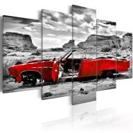 Obraz  Czerwony samochód w stylu retro na Pustyni Kolorado  5 części