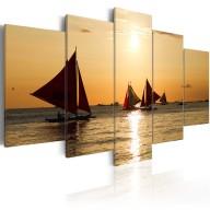 Obraz - Żaglówki o zachodzie słońca