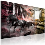 Obraz  Czarny koń przy wodospadzie