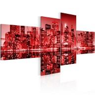 Obraz  NYC  miasto w odcieniach czerwieni