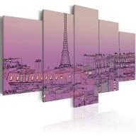 Obraz  Lawendowy wschód słońca nad Paryżem