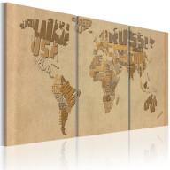 Obraz  Mapa świata w beżach i brązach