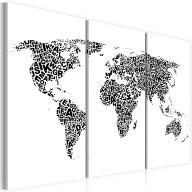 Obraz  Mapa świata  alfabet  tryptyk