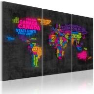 Obraz  Mapa świata  nazwy państw w języku włoskim  tryptyk