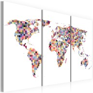 Obraz  Mapa świata  piksele  tryptyk