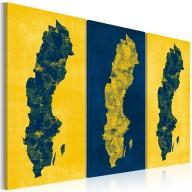 Obraz  Malowana mapa Szwecji  tryptyk