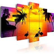 Obraz - Zachód słońca i flamingi