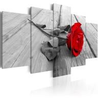 Obraz  Róża na drewnie