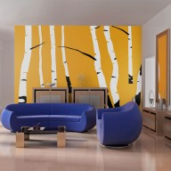 Fototapeta  Birches on the orange background