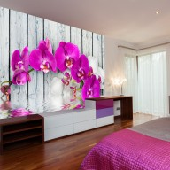 Fototapeta  Violet orchids with water reflexion