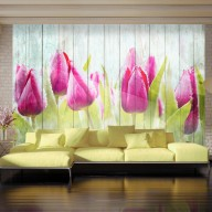 Fototapeta  Tulipany na białym drewnie