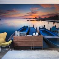 Fototapeta  Zachód słońca, łodzie i pomost