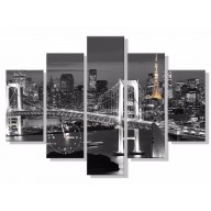 Obraz z zegarem - Most w mieście nocą