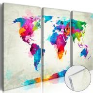 Obraz na szkle akrylowym  Mapa świata Eksplozja kolorów [Glass]