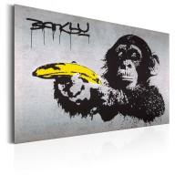 Plakat metalowy  Monkey with Banana Gun by Banksy [Allplate]