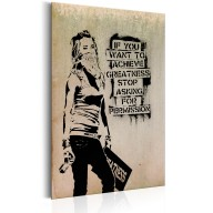 Plakat metalowy  Graffiti Slogan by Banksy [Allplate]