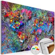 Obraz na korku  Kolorowe kłębowisko [Mapa korkowa]