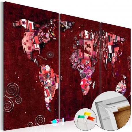 Obraz na korku  Rubinowy świat [Mapa korkowa]
