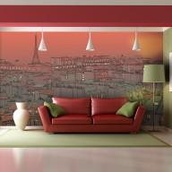 Fototapeta XXL  Wieczorna zorza nad Paryżem