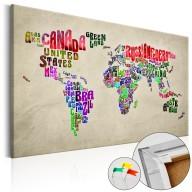 Obraz na korku  Światowe tournée (EN) [Mapa korkowa]