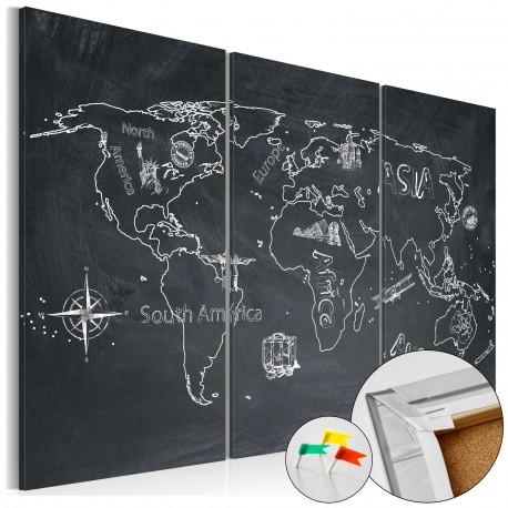 Obraz na korku  Podróże kształcą (tryptyk) [Mapa korkowa]
