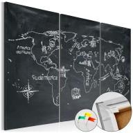 Obraz na korku - Lekcja geografii [Mapa korkowa]