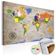 Obraz na korku - Mapa świata: Styl retro [Mapa korkowa]