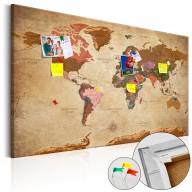 Obraz na korku  Mapa świata Brązowa elegancja [Mapa korkowa]