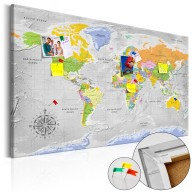 Obraz na korku  Mapa świata Róża wiatrów [Mapa korkowa]