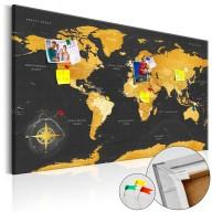 Obraz na korku  Złoty świat [Mapa korkowa]