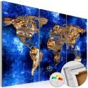 Obraz na korku - Złote kontynenty [Mapa korkowa]
