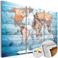 Obraz na korku  Szafirowe podróże [Mapa korkowa]