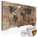 Obraz na korku - Drewniana mozaika [Mapa korkowa]