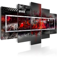Obraz  Szara wizja z nutą czerwieni