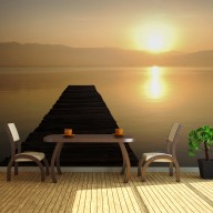 Fototapeta XXL  pomost, jezioro, zachód słońca...