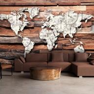 Fototapeta  Mapa na drewnie