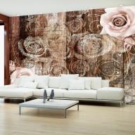 Fototapeta  Stare drewno i róże