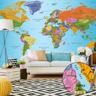 Fototapeta XXL  Mapa świata Kolorowa geografia II
