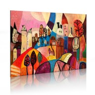 Obraz malowany  Kolorowa wieś