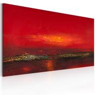 Obraz malowany  Czerwony zachód słońca nad morzem