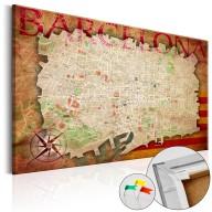 Obraz na korku  Mapa Barcelony  [Mapa korkowa]