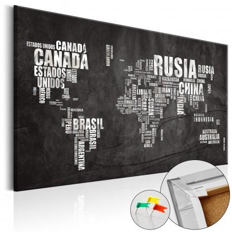 Obraz na korku  Mundo Negro [Mapa korkowa]