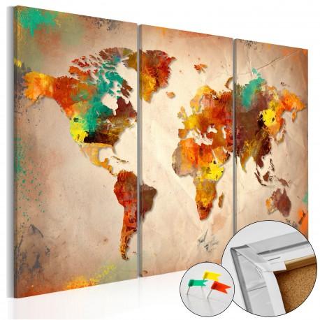 Obraz na korku  Malowany świat [Mapa korkowa]
