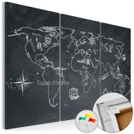 Obraz na korku - Podróże kształcą (tryptyk) [Mapa korkowa]