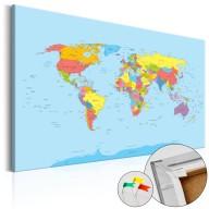 Obraz na korku  Tęczowa geografia [Mapa korkowa]