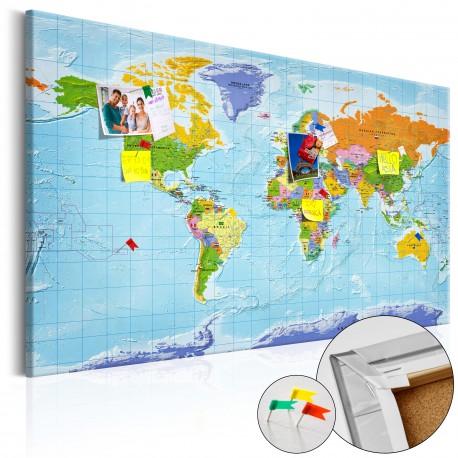 Obraz na korku  Mapa świata Flagi państw [Mapa korkowa]