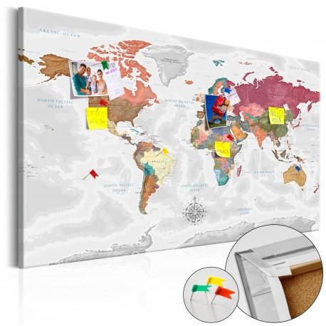 Obraz na korku  Podróże przez świat [Mapa korkowa]