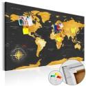 Obraz na korku - Złoty świat [Mapa korkowa]