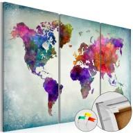 Obraz na korku - Świat w kolorach [Mapa korkowa]