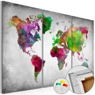 Obraz na korku  Różnorodność świata [Mapa korkowa]